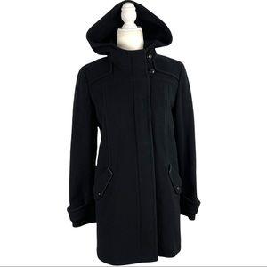 Cole Haan Women's Black Wool Blend Trim Leather Winter Coat Hood Full Zip Size 8